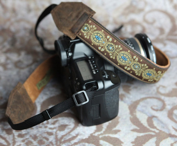 Handmade Leather and Suede Camera Strap Marie Antionette Style DSLR